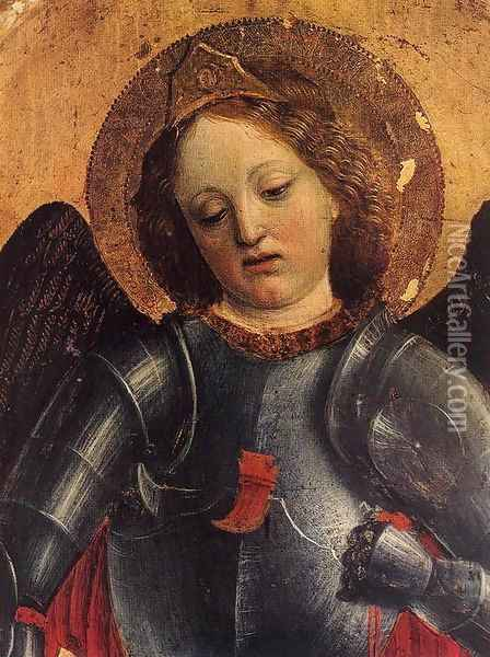 St Michael Archangel (detail) Oil Painting - Vincenzo Foppa