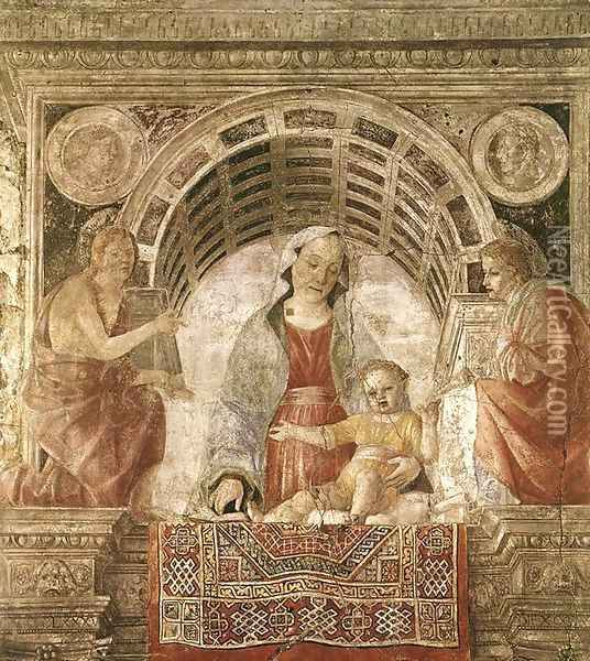 Madonna and Child with St John the Baptist and St John the Evangelist 1485 Oil Painting - Vincenzo Foppa