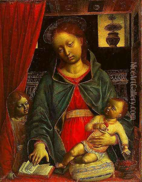 Madonna and Child with an Angel Oil Painting - Vincenzo Foppa