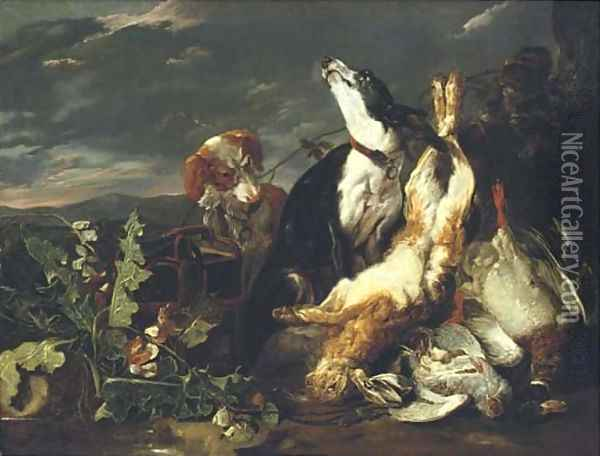 A hunting still-life with a partridge Oil Painting - Jan Fyt