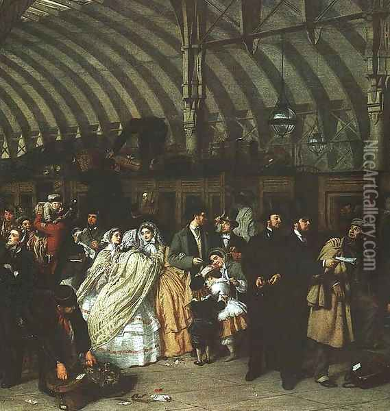 The Railway Station (detail) 1862 Oil Painting - William Powell Frith