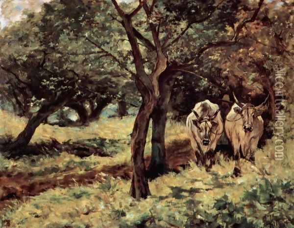 Two oxen in the olive grove Oil Painting - Giovanni Fattori