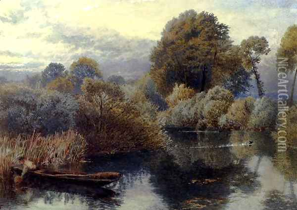 An Eel Fisherman On The Thames Oil Painting - Myles Birket Foster