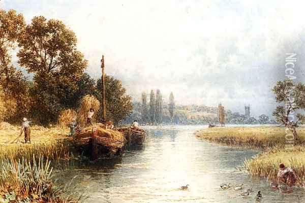 Loading The Hay Barges, With A Young Woman Taking Water From The River In The Foreground Oil Painting - Myles Birket Foster
