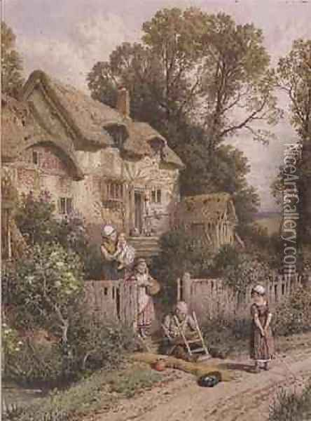 The Chair Mender Oil Painting - Myles Birket Foster
