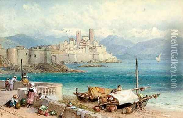 Children on the waterfront at Porto Maurizio Oil Painting - Myles Birket Foster