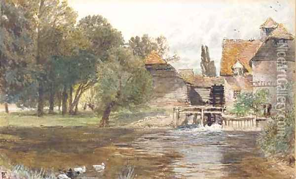 Study of a figure beside a watermill, with ducks in the foreground Oil Painting - Myles Birket Foster