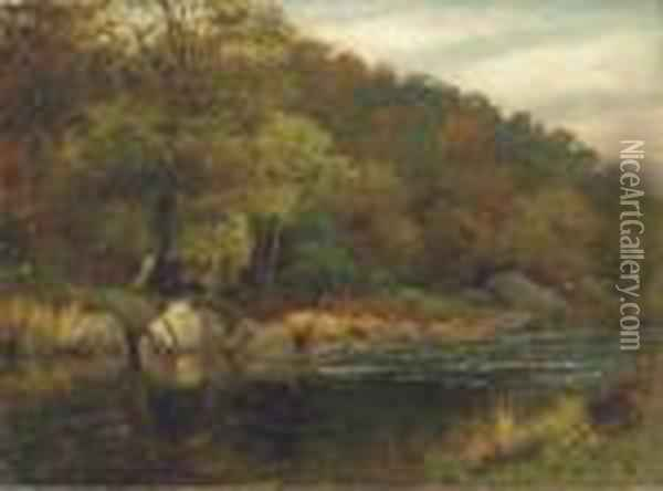 A Wooded River Landscape Oil Painting - Thomas Spinks