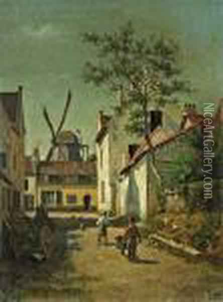 A Village Street With Two Boys Pushing A Wheelbarrow Oil Painting - Agapit Stevens
