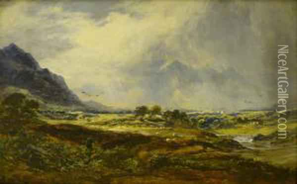 Skiddaw, Cumberland Oil Painting - George Blackie Sticks