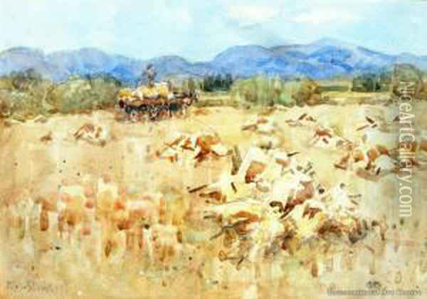 Oat Harvest, Rydal Downs, North Canterbury Oil Painting - Margaret Olrog Stoddart