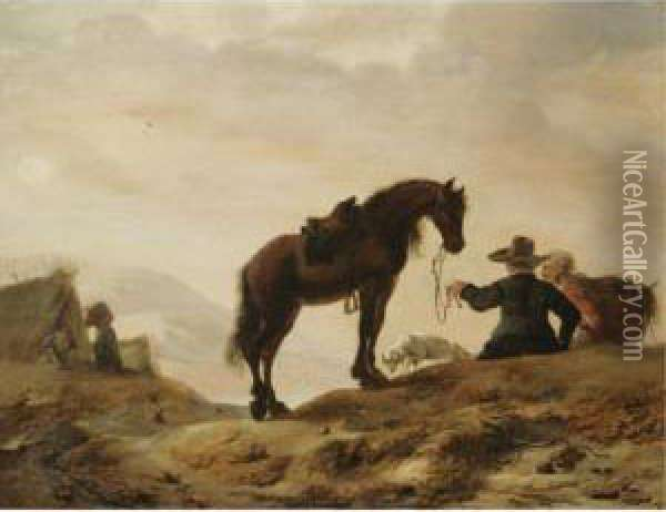 A Landscape With A Cavalier Resting With His Horse And Dog Oil Painting - Dirck Willemsz. Stoop