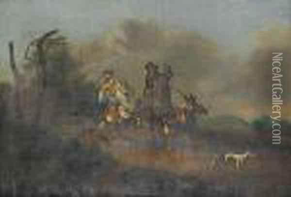 An Elegant Hawking Party On A Country Path Oil Painting - Dirck Willemsz. Stoop