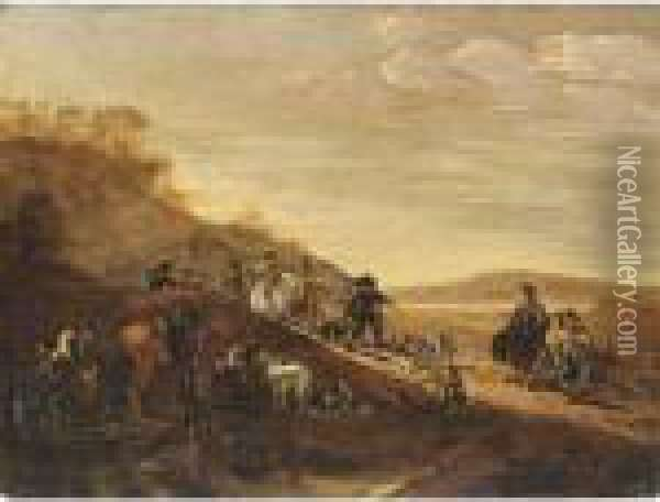 A Hilly Landscape With Sportsmen, Horses And Hounds Resting After The Hunt Oil Painting - Dirck Willemsz. Stoop