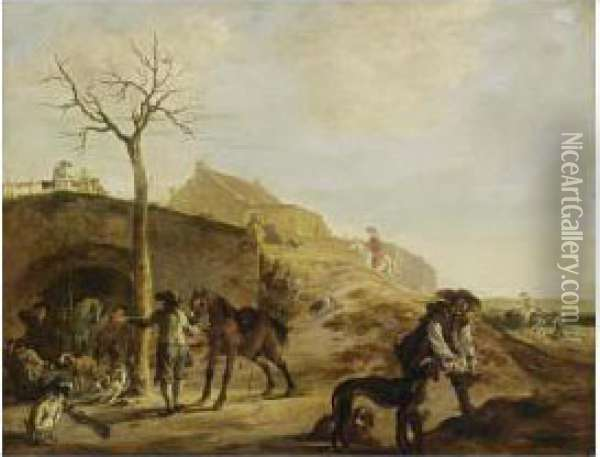 Sportsmen Preparing For The Hunt, Together With Dogs And Horses Oil Painting - Dirck Willemsz. Stoop