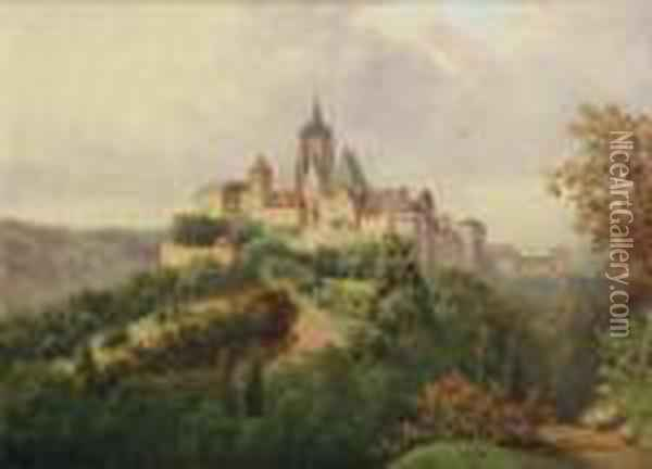 A View Of Prague Castle Oil Painting - Vilem Stroeminger