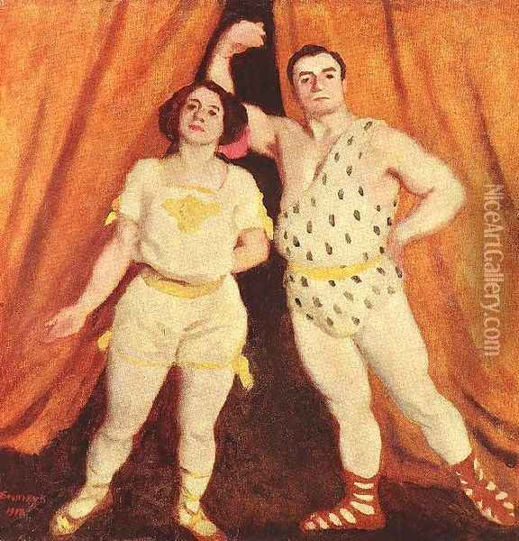Acrobats 1912 Oil Painting - Karoly Ferenczy