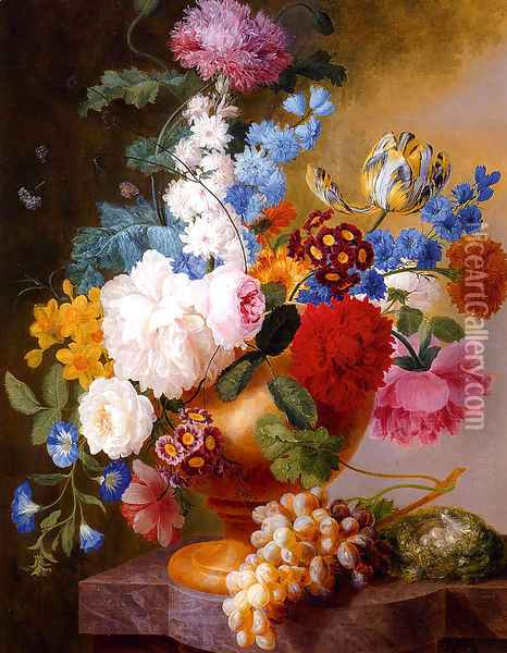 Still Life Of Tulips, Roses, Peonies, Narcissus, And Other Flowers In A Urn Oil Painting - Pieter Faes