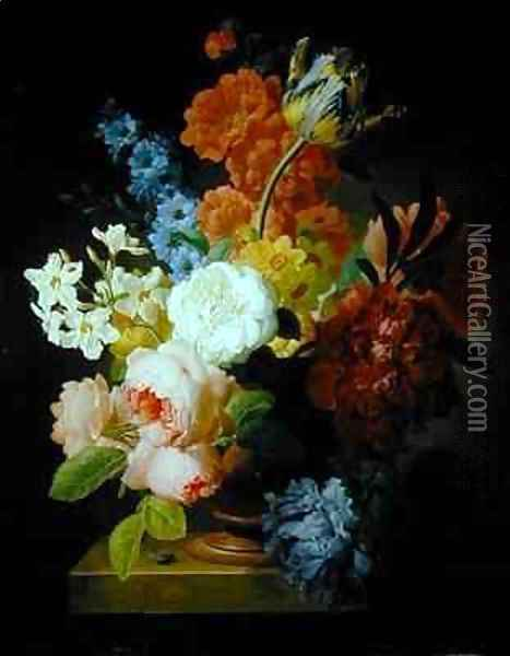 Still life of flowers in a marble urn Oil Painting - Pieter Faes