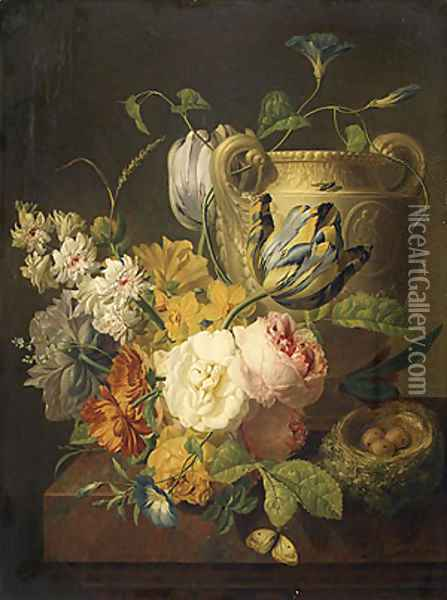 Flowers by a Stone Vase 1786 Oil Painting - Pieter Faes