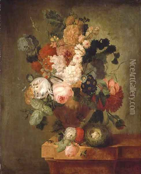 Roses, carnations, a tulip and other flowers in a sculpted urn with a bird's nest on a marble ledge with a beetle and a butterfly Oil Painting - Pieter Faes