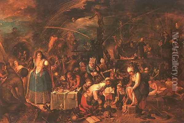 An Assembly of Witches 1600s Oil Painting - Frans the younger Francken