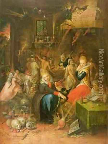 An Incantation Scene Oil Painting - Frans the younger Francken