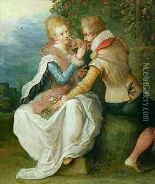 Two Lovers in a Garden Oil Painting - Frans the younger Francken
