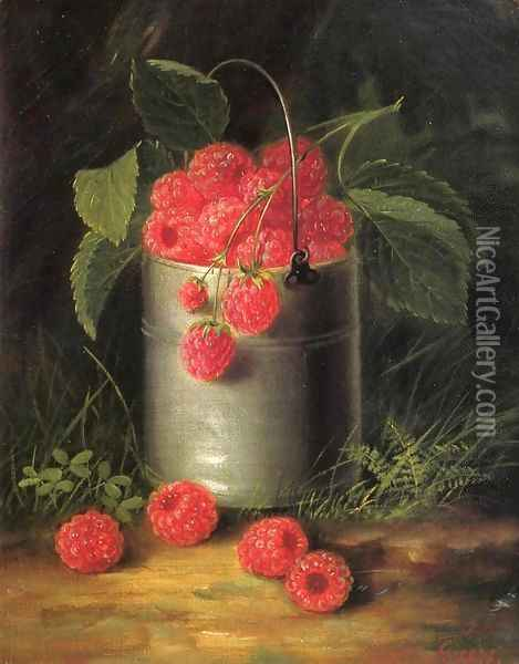 A Pail of Raspberries Oil Painting - George Forster