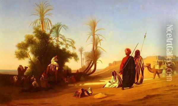 Halte A L'Oasis (Rest at the Oasis) Oil Painting - Charles Theodore Frere
