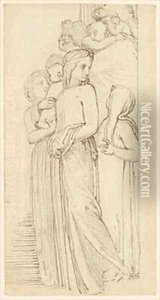 A Group of Women and Children in a Doorway Oil Painting - John Flaxman