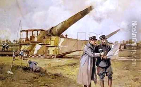 Heavy Artillery on the Railway Oil Painting - Francois Flameng