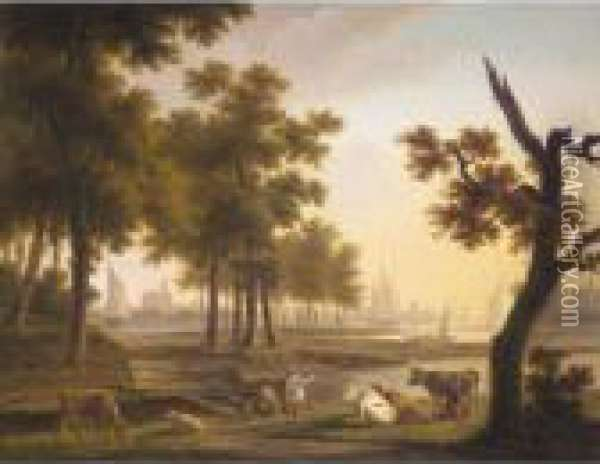 A River Landscape With A 
