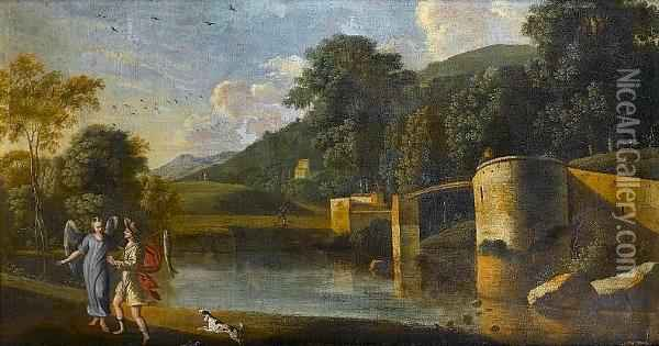 A River Landscape With Tobias And The Angel Oil Painting - Agostino Tassi