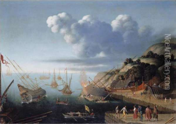 A Ship-building Port Oil Painting - Agostino Tassi