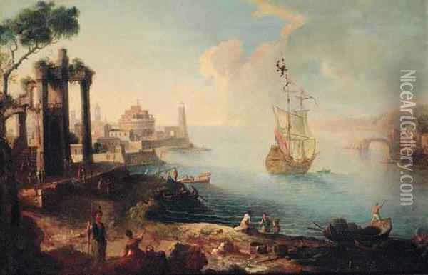A Capriccio Of An Eastern Harbour With Fisherfolk On The Shore, Aman-o'-war Beyond Oil Painting - Agostino Tassi
