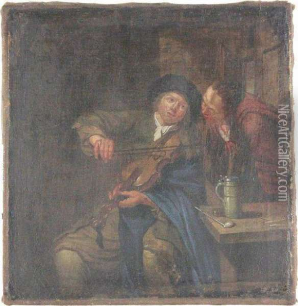 Musician In A Tavern Interior Oil Painting - David The Younger Teniers