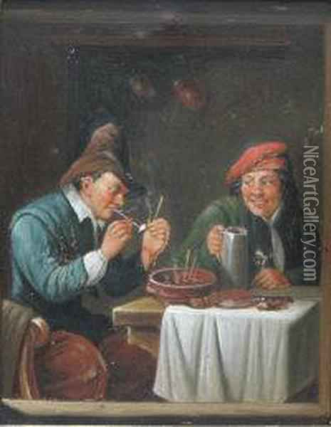 Topers In An Inn Interior Oil Painting - David The Younger Teniers
