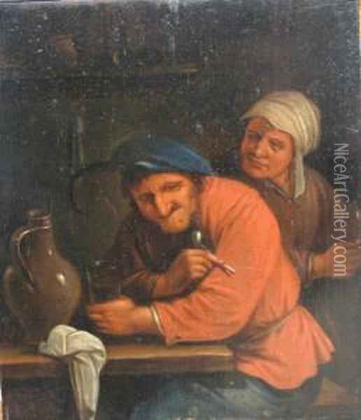 A Toper Seated In A Tavern Oil Painting - David The Younger Teniers