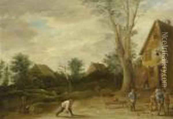Village Scene With Skittles Players Oil Painting - David The Younger Teniers