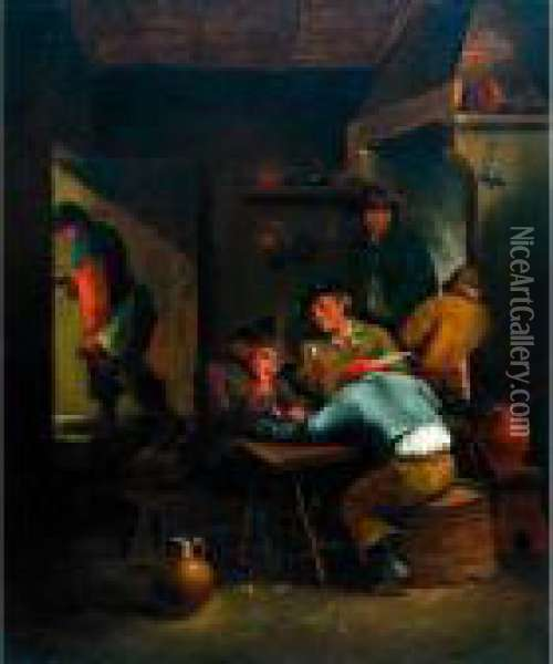 Peasant Smokers In A Tavern Oil Painting - David The Younger Teniers