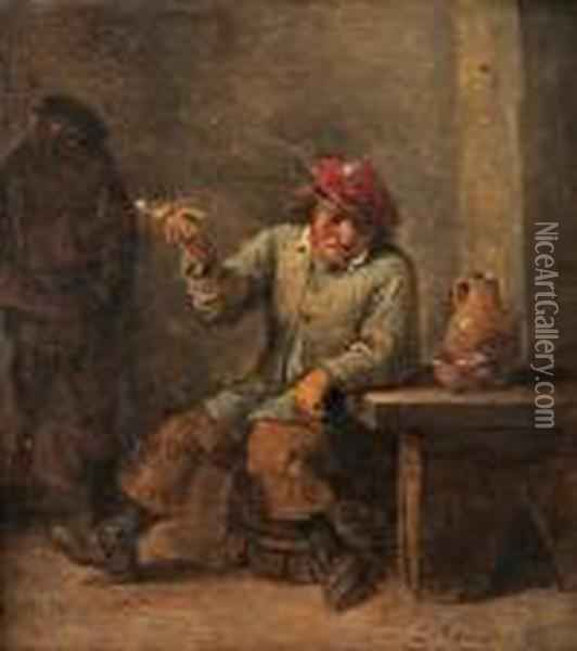 Kritpipsrokande Man- Allegori Over Doften Oil Painting - David The Younger Teniers