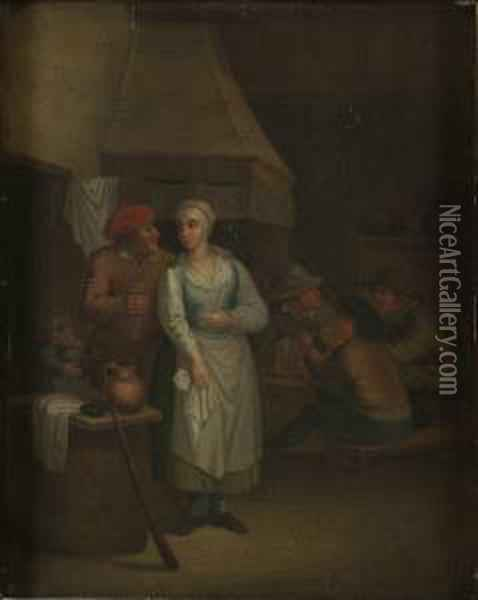 Y Hans Art, Interior Med Omfamnande Par Oil Painting - David The Younger Teniers