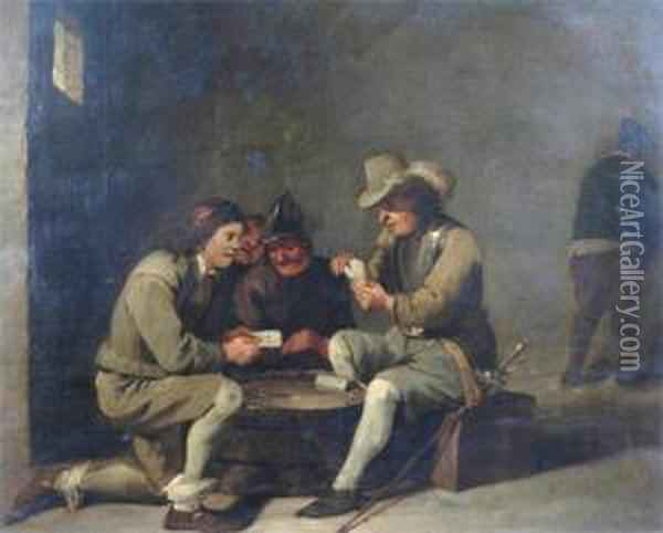 Tavern Interior, Men Playing Cards Oil Painting - David The Younger Teniers