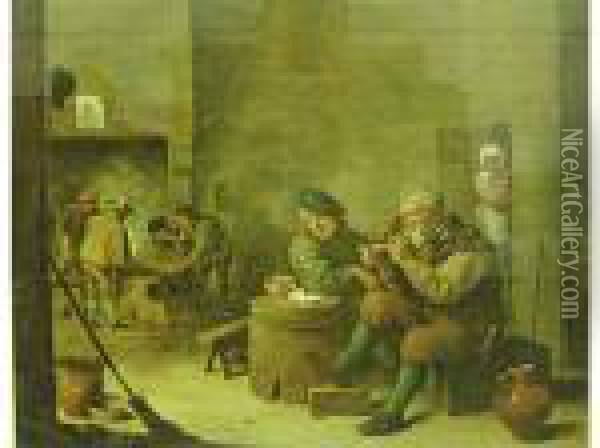 Interno Di Osteria Oil Painting - David The Younger Teniers