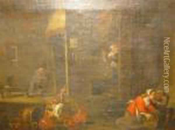 Interior With Figures Oil Painting - David The Younger Teniers