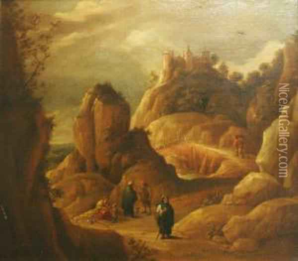 Classicallandscape With Figures Oil Painting - David The Younger Teniers