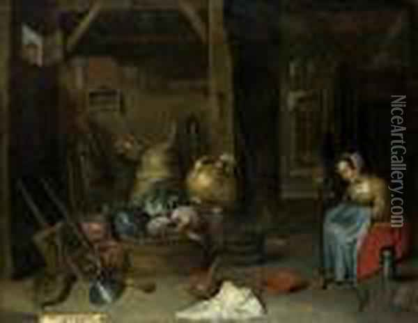 D. J. - Umkreis: Bauerliches Inter Oil Painting - David The Younger Teniers