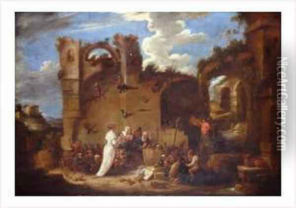 Ecole Flamande Vers 1650 Oil Painting - David The Younger Teniers