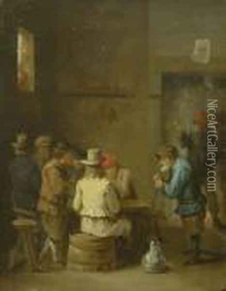 Wirtshausszene. Oil Painting - David The Younger Teniers